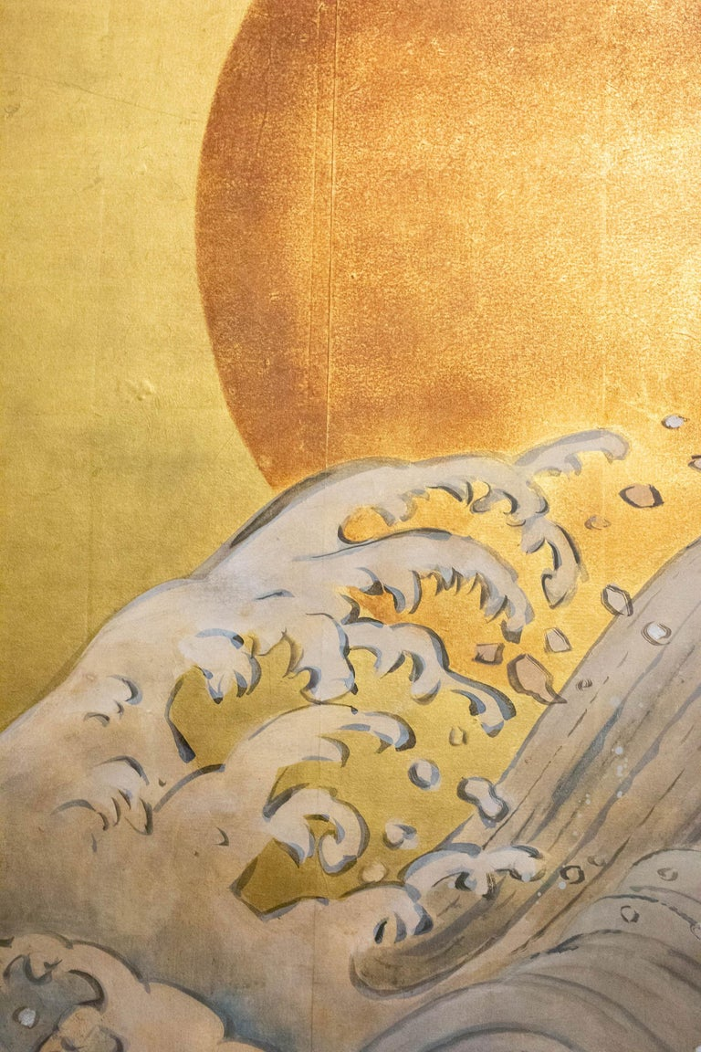 Japanese Two Panel Screen Sun Over Cresting Waves on Gold Leaf For Sale 3