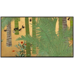Japanese Two-Panel Screen, Swallows in Tropical Landscape 'Southern Islands'