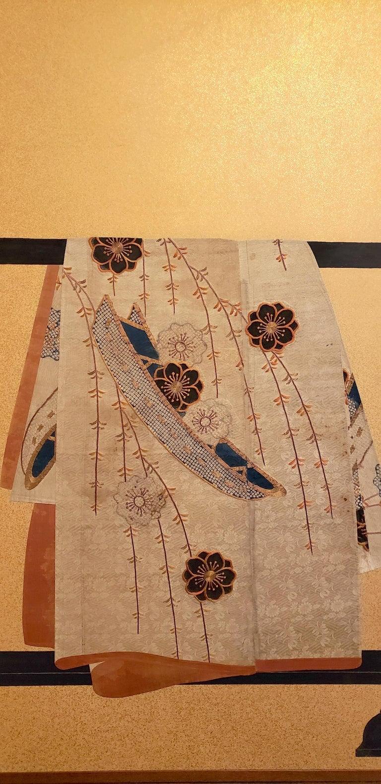 Textile Japanese Two Panel Screen: Tagasode (Whose Sleeves?) For Sale