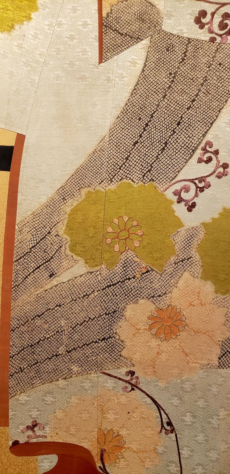 Japanese Two Panel Screen: Tagasode (Whose Sleeves?) In Good Condition For Sale In Hudson, NY