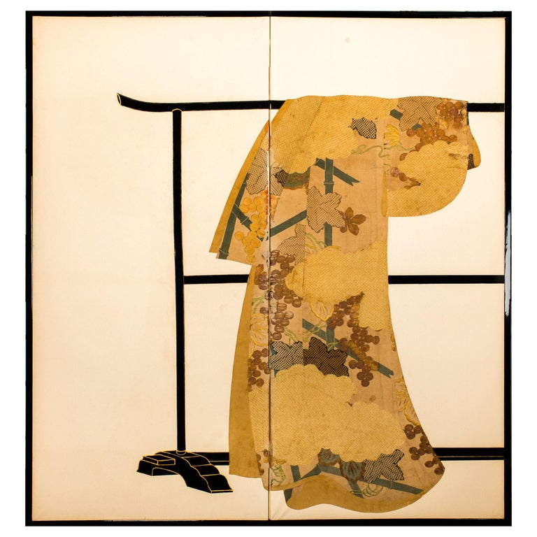 Japanese Two-Panel Screen Tagasode 'Whose Sleeves?' For Sale