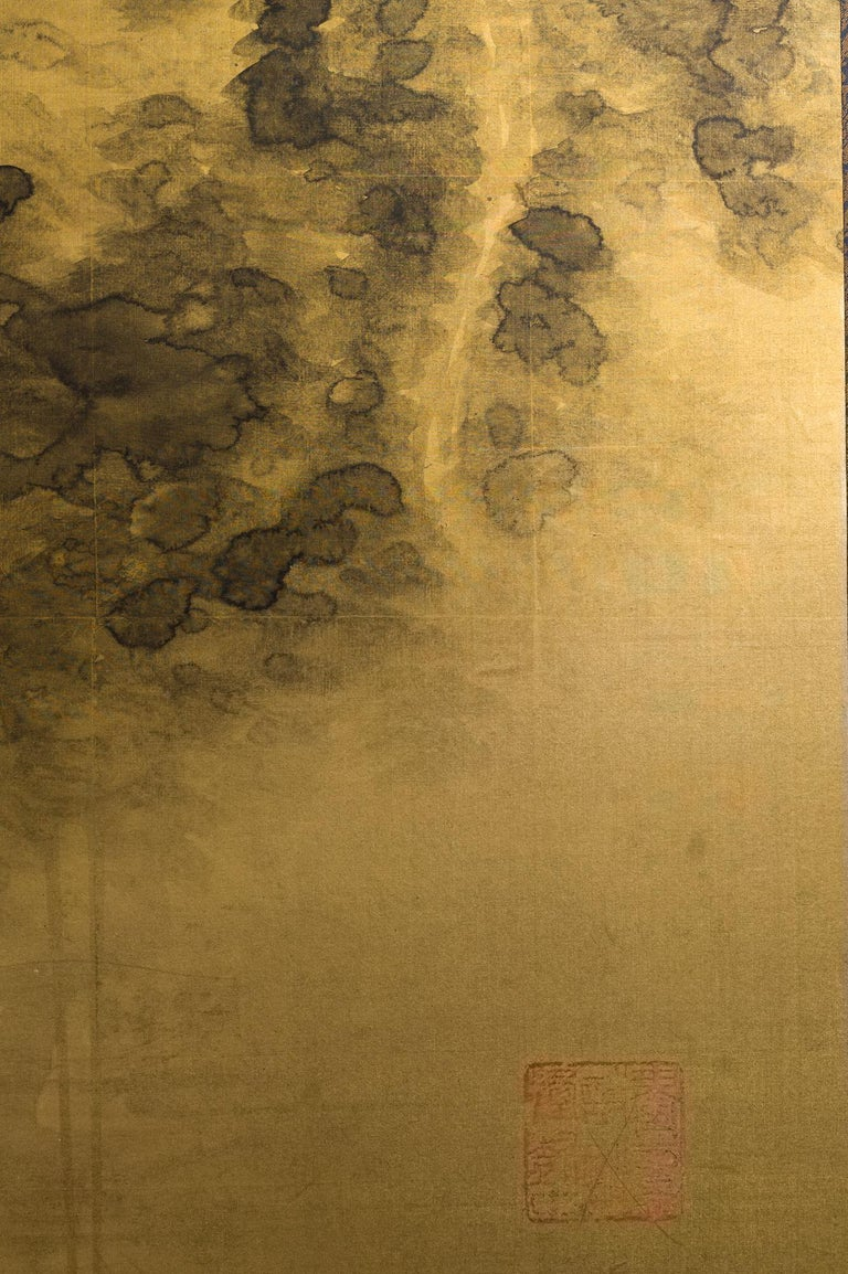 Japanese Two-Panel Screen Temples Through Misty Forest For Sale 4