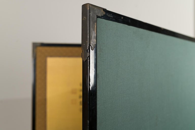 Japanese Two-Panel Screen Temples Through Misty Forest For Sale 6