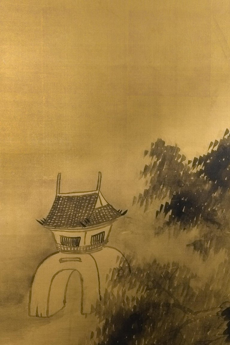 Japanese two-panel screen: Temples Through Misty Forest. Chinese School landscape ink painting on gilded silk by Yukimatsu Shunpo, signed and dated 1924. Yukimatsu Shunpo was born in Oita in 1897 and studied under Himejima Chikugai in Osaka. He