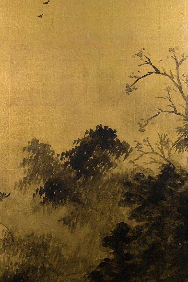 Taisho Japanese Two-Panel Screen Temples Through Misty Forest For Sale