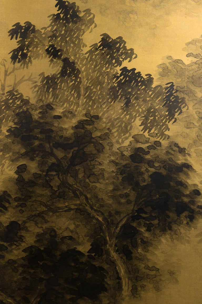 Early 20th Century Japanese Two-Panel Screen Temples Through Misty Forest For Sale