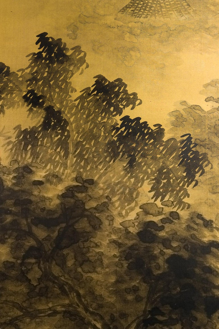 Japanese Two-Panel Screen Temples Through Misty Forest For Sale 1