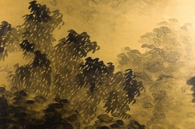Japanese Two-Panel Screen Temples Through Misty Forest For Sale 2