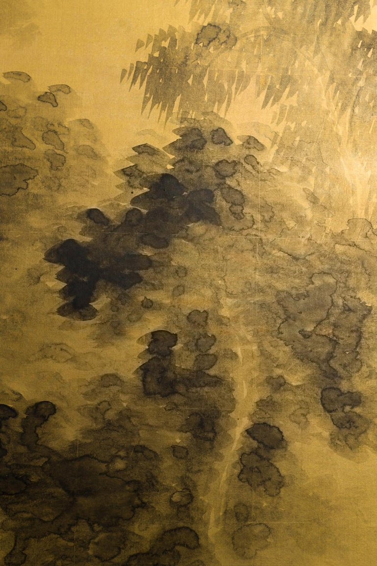 Japanese Two-Panel Screen Temples Through Misty Forest For Sale 3