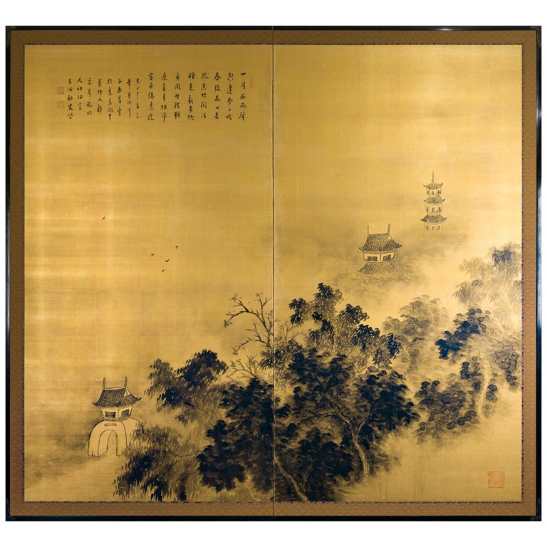 Japanese Two-Panel Screen Temples Through Misty Forest For Sale