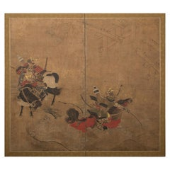 Japanese Two Panel Screen The Battle of Uji Bridge