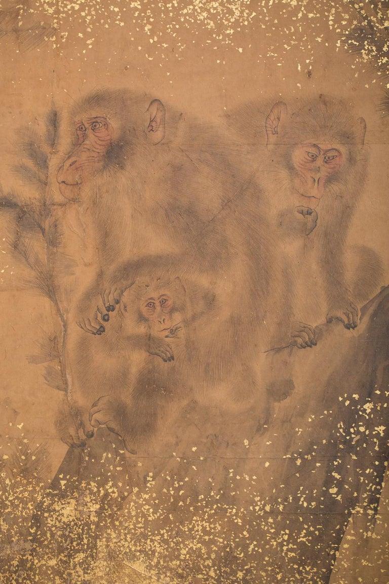 Edo Japanese Two-Panel Screen Troop of Monkeys in a Tree For Sale