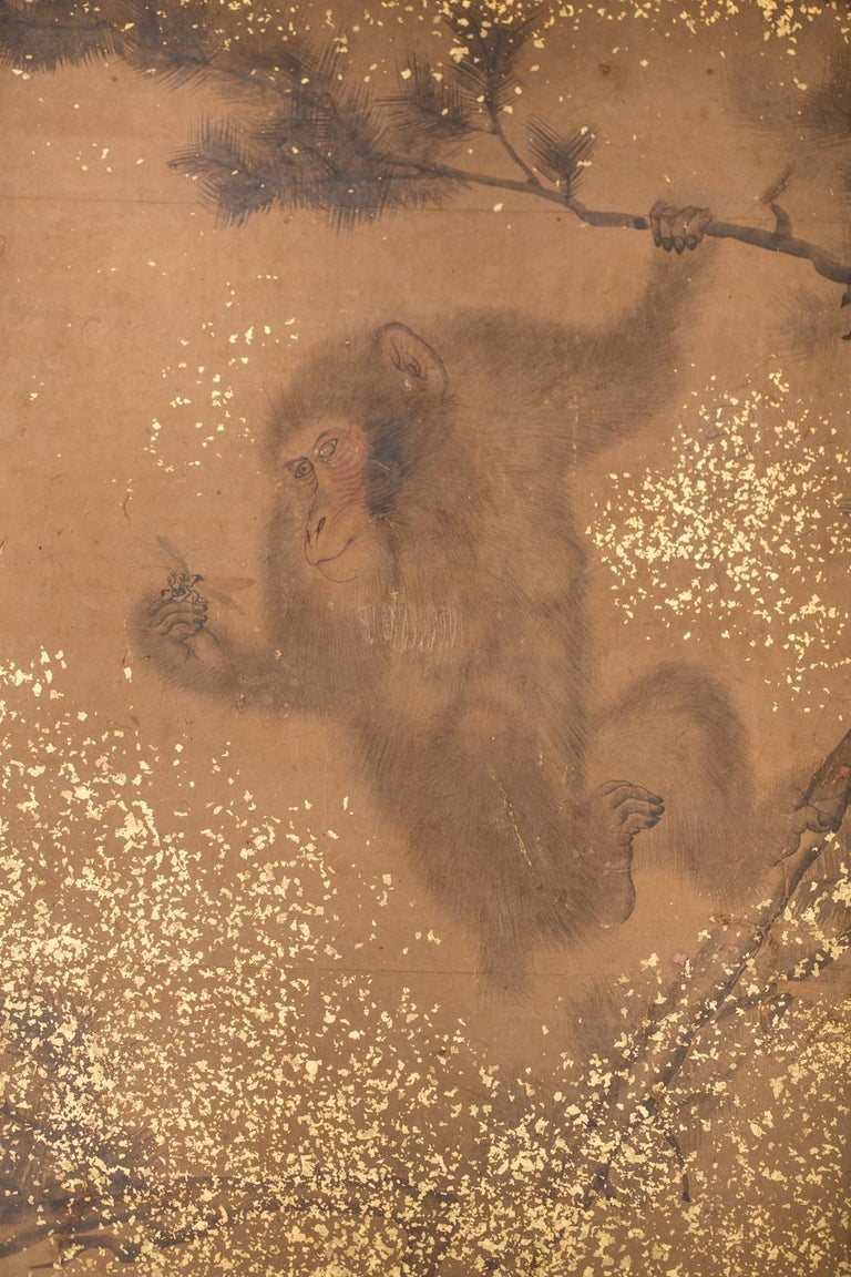 Japanese Two-Panel Screen Troop of Monkeys in a Tree In Good Condition For Sale In Hudson, NY