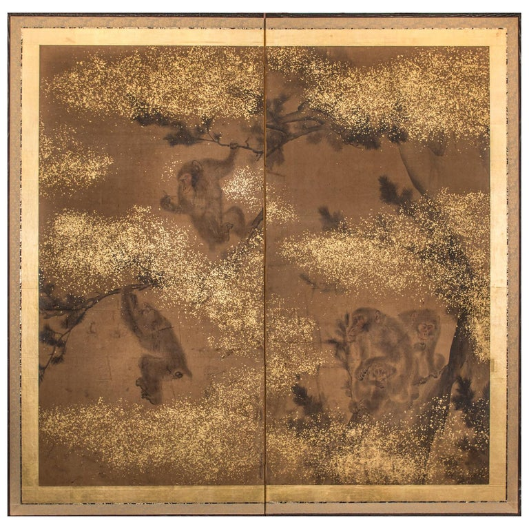 Japanese Two-Panel Screen Troop of Monkeys in a Tree For Sale