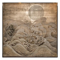 Japanese Two Panel Screen Waves and Moon on Silver