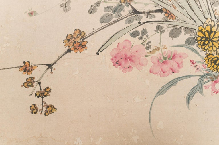 Meiji Japanese Two-Panel Screen Wild Flowers For Sale