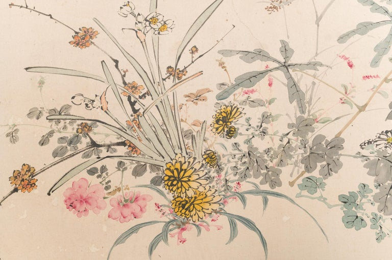 Japanese Two-Panel Screen Wild Flowers In Good Condition For Sale In Hudson, NY