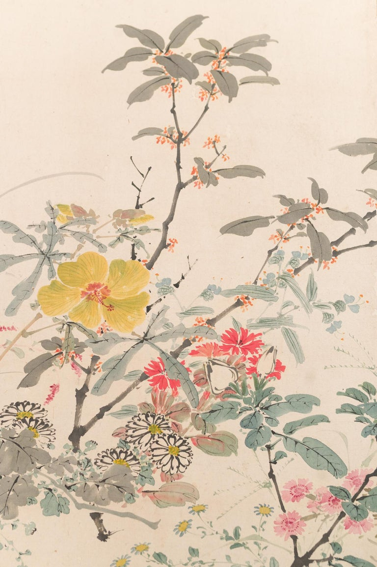 19th Century Japanese Two-Panel Screen Wild Flowers For Sale