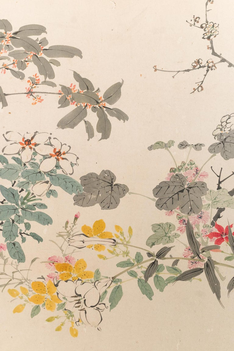 Wood Japanese Two-Panel Screen Wild Flowers For Sale