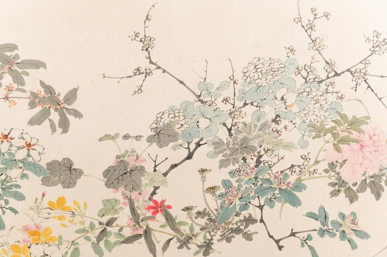 Japanese Two-Panel Screen Wild Flowers For Sale 1