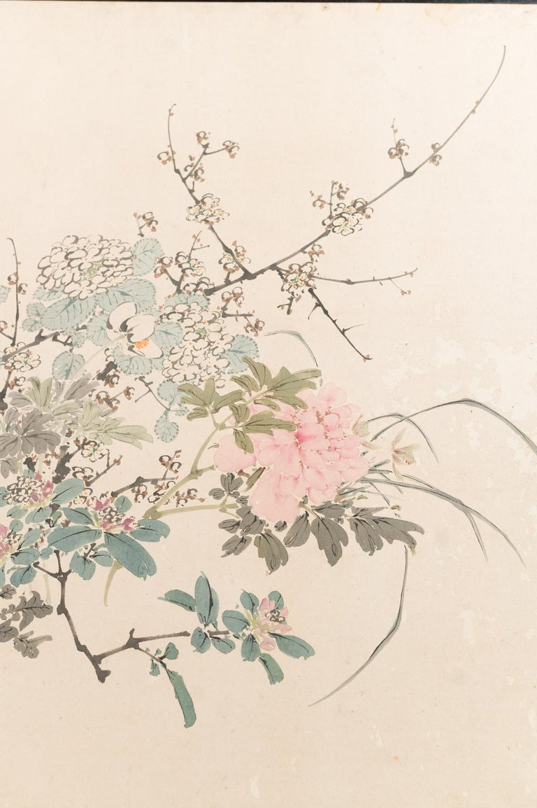 Japanese Two-Panel Screen Wild Flowers For Sale 2