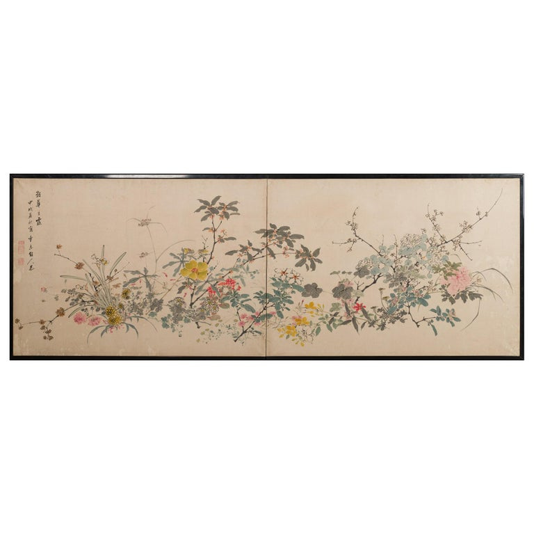 Japanese Two-Panel Screen Wild Flowers For Sale
