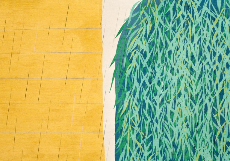 Japanese Screen: Willow Textile, Willow textile mounted as a two-fold screen in vibrant colors and abstracted style. Modern Japanese painting (artist seal unreadable).
