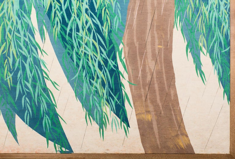 Japanese Two Panel Screen Willow Textile In Good Condition For Sale In Hudson, NY