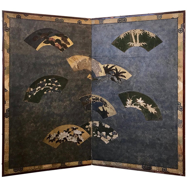Japanese Two-Panel Screen with Fans For Sale