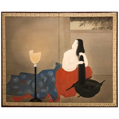 Japanese Two-Panel Screen Woman Washing Her Hair by Candlelight
