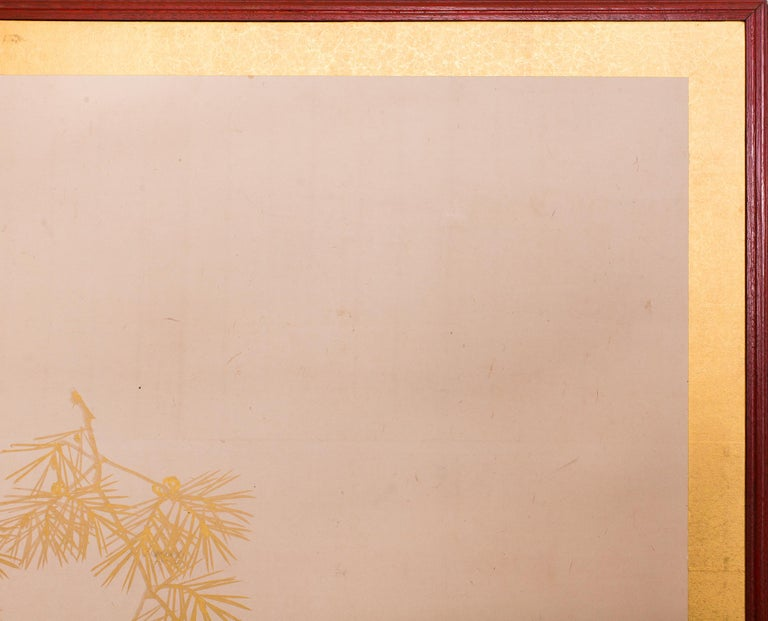Gold Leaf Japanese Two Panel Screen Young Pine For Sale