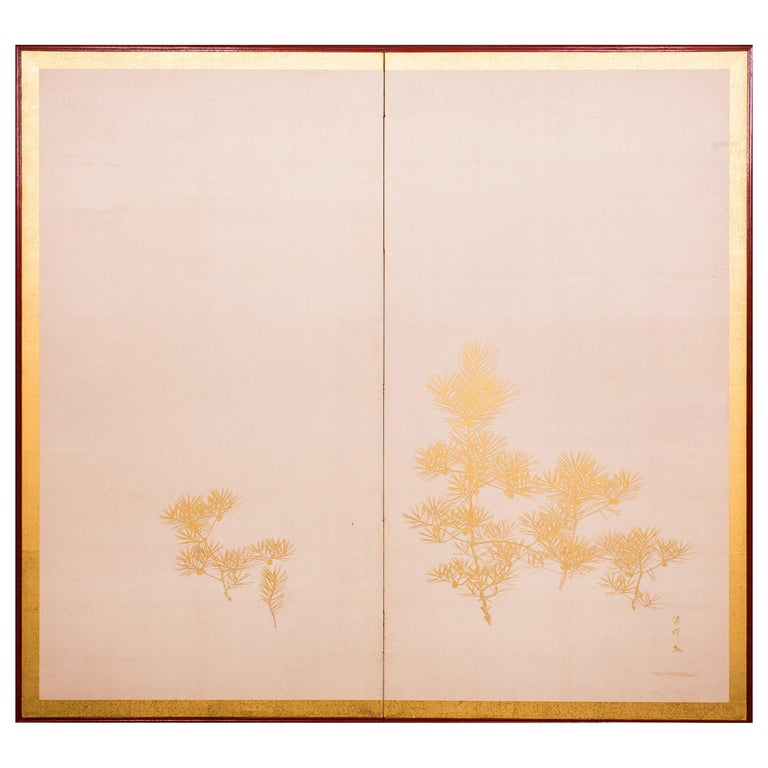 Japanese Two Panel Screen Young Pine For Sale