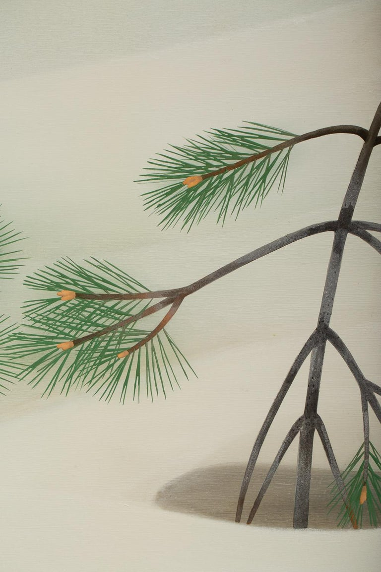 Japanese Two-Panel Screen, Young Pine in Snow For Sale 5