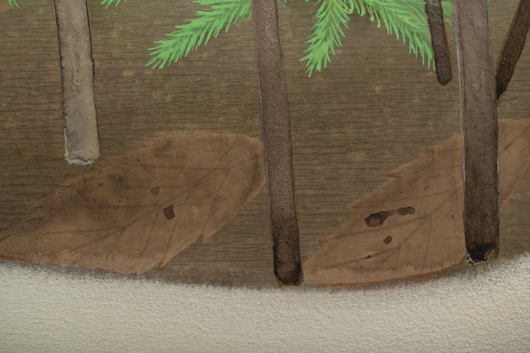 Japanese Two-Panel Screen, Young Pine in Snow For Sale 6