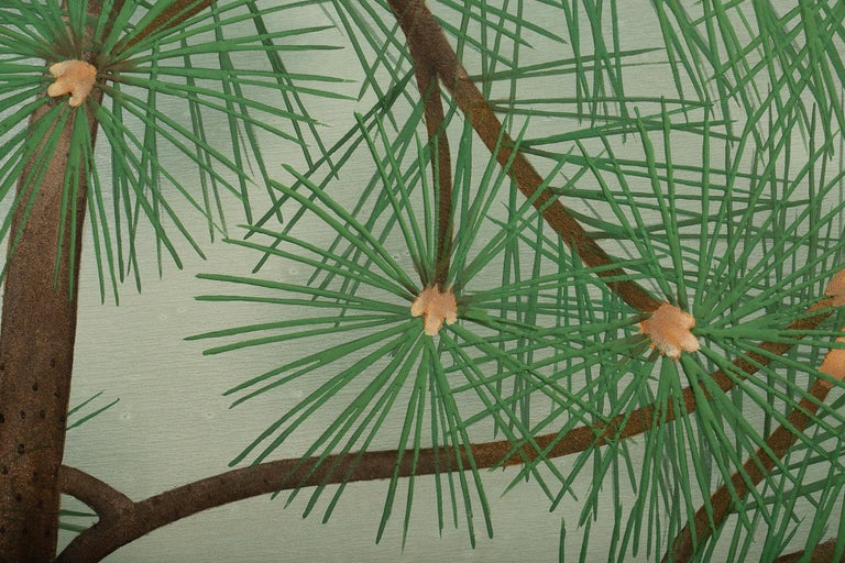 Japanese Two-Panel Screen, Young Pine in Snow In Good Condition For Sale In Hudson, NY