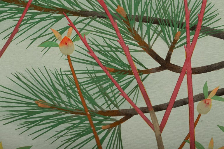 Silk Japanese Two-Panel Screen, Young Pine in Snow For Sale