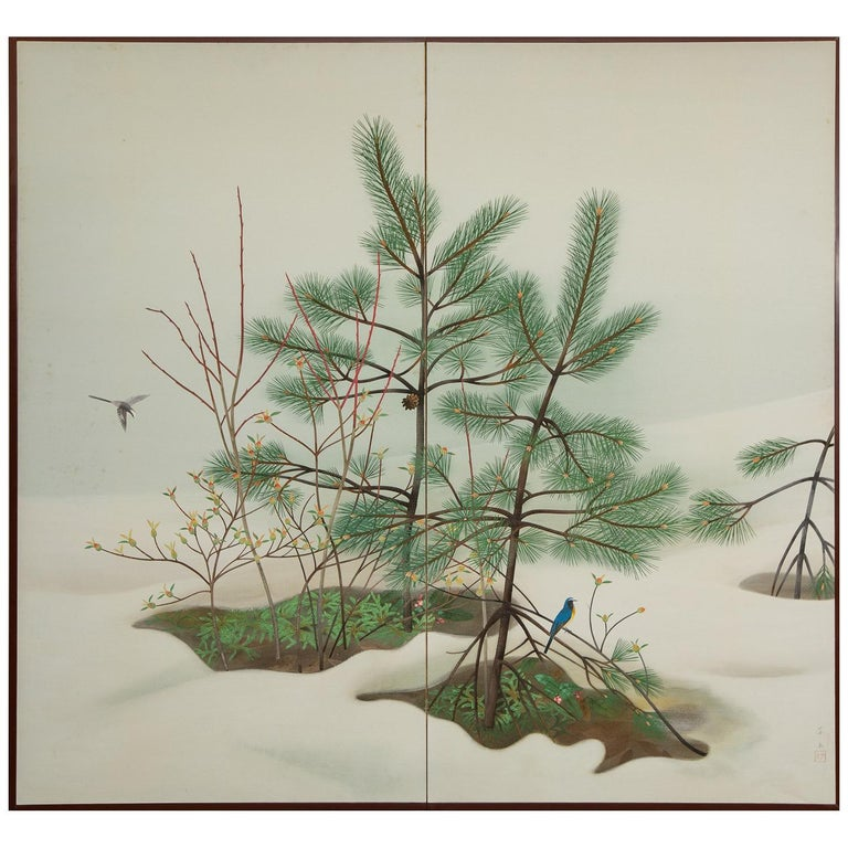Japanese Two-Panel Screen, Young Pine in Snow For Sale