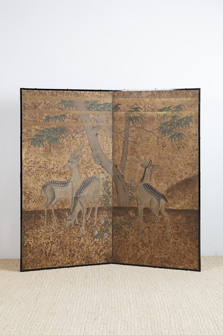 Japanese Two-Panel Showa Period Screen of Sika Deer For Sale 6