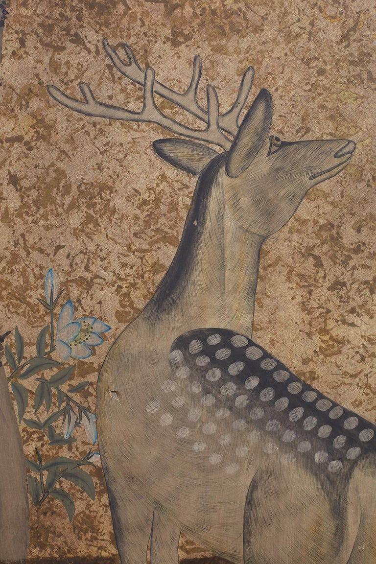Wood Japanese Two-Panel Showa Period Screen of Sika Deer For Sale