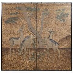 Japanese Two-Panel Showa Period Screen of Sika Deer
