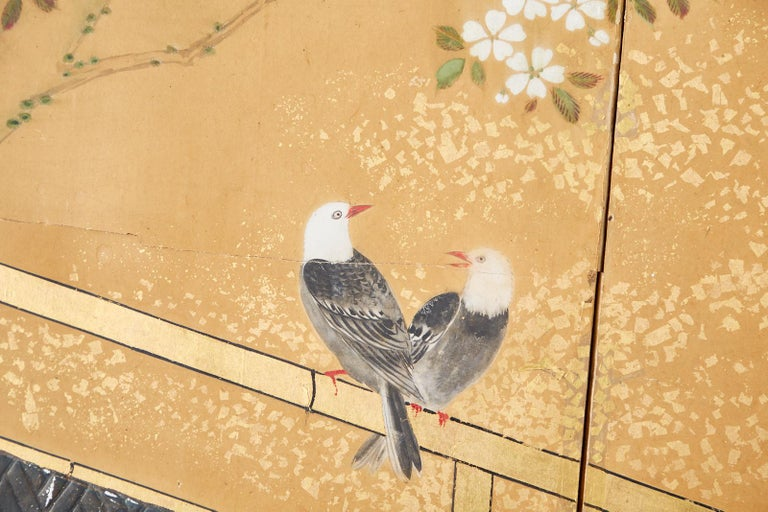 Japanese Two-Panel Showa Screen Birds under Cherry Tree For Sale 4