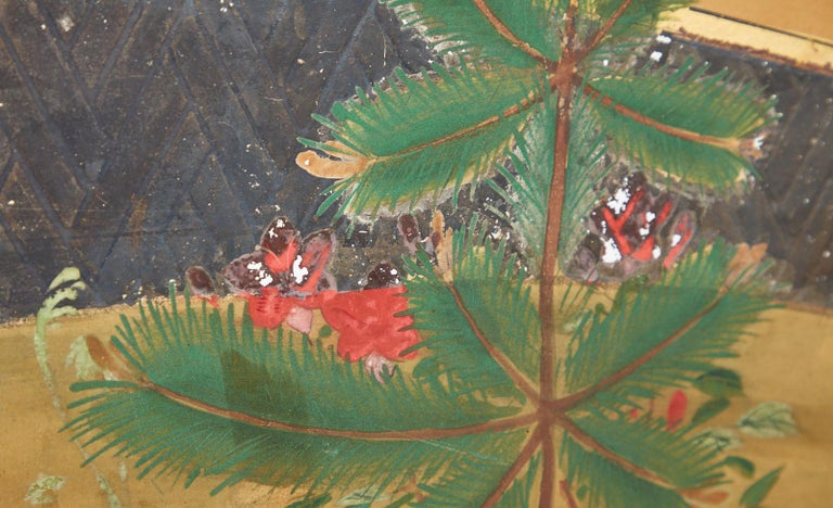 Japanese Two-Panel Showa Screen Birds under Cherry Tree For Sale 5