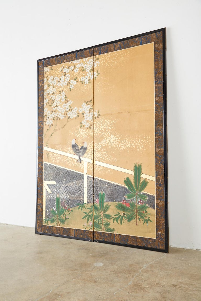 Japanese Two-Panel Showa Screen Birds under Cherry Tree For Sale 7