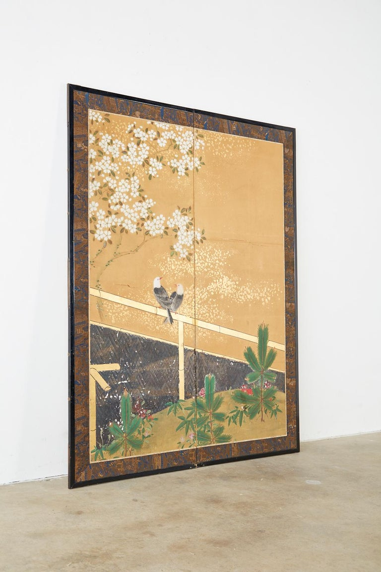 Japanese Two-Panel Showa Screen Birds under Cherry Tree For Sale 8
