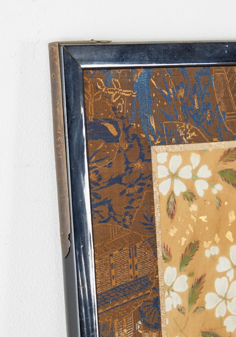 Japanese Two-Panel Showa Screen Birds under Cherry Tree For Sale 10