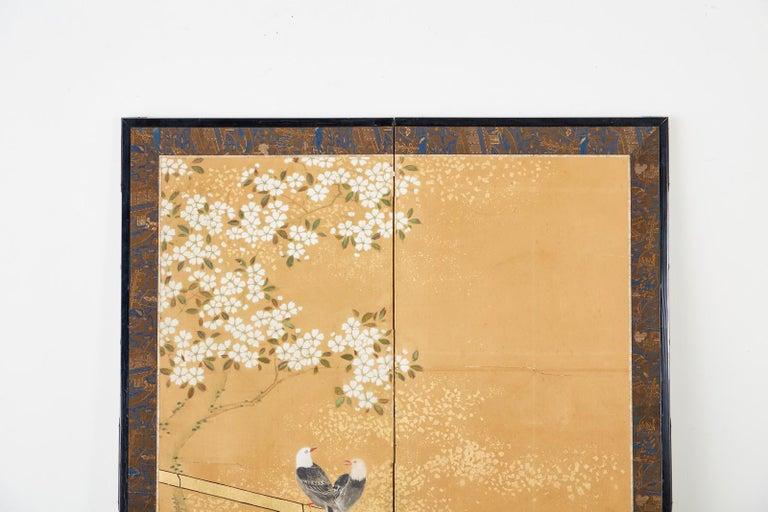 Ebonized Japanese Two-Panel Showa Screen Birds under Cherry Tree For Sale