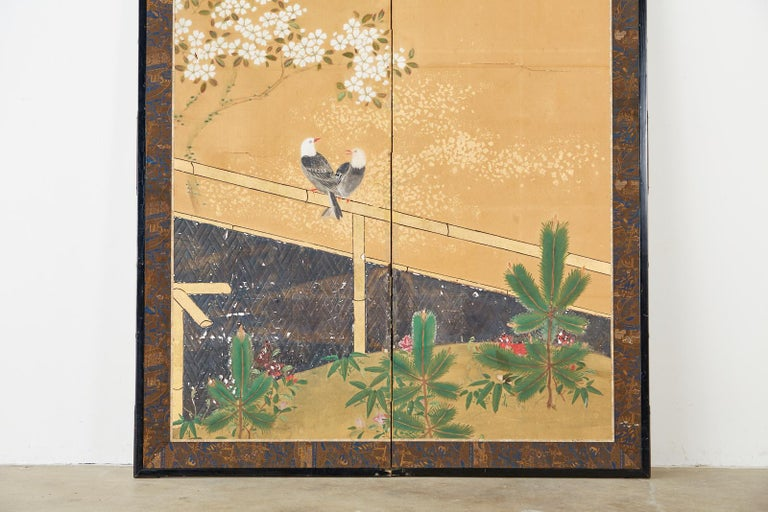 Japanese Two-Panel Showa Screen Birds under Cherry Tree In Fair Condition For Sale In Rio Vista, CA