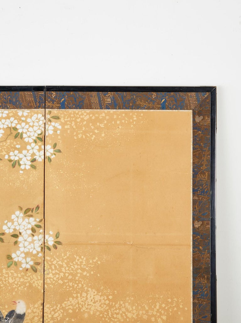 Brass Japanese Two-Panel Showa Screen Birds under Cherry Tree For Sale