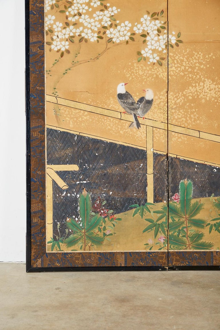 Japanese Two-Panel Showa Screen Birds under Cherry Tree For Sale 1