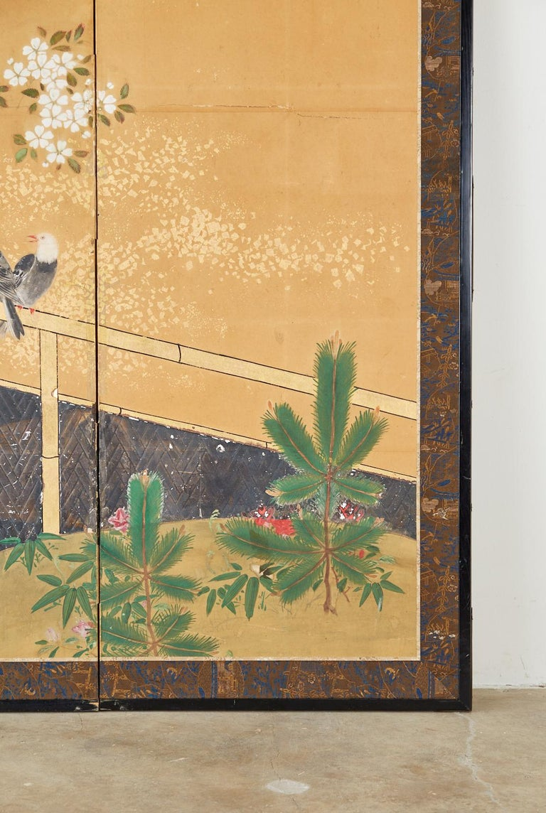 Japanese Two-Panel Showa Screen Birds under Cherry Tree For Sale 2